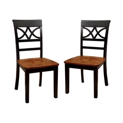 Set of 2 LanfieldCountry Style Back Design Side Chair Black/Oak - HOMES: Inside + Out