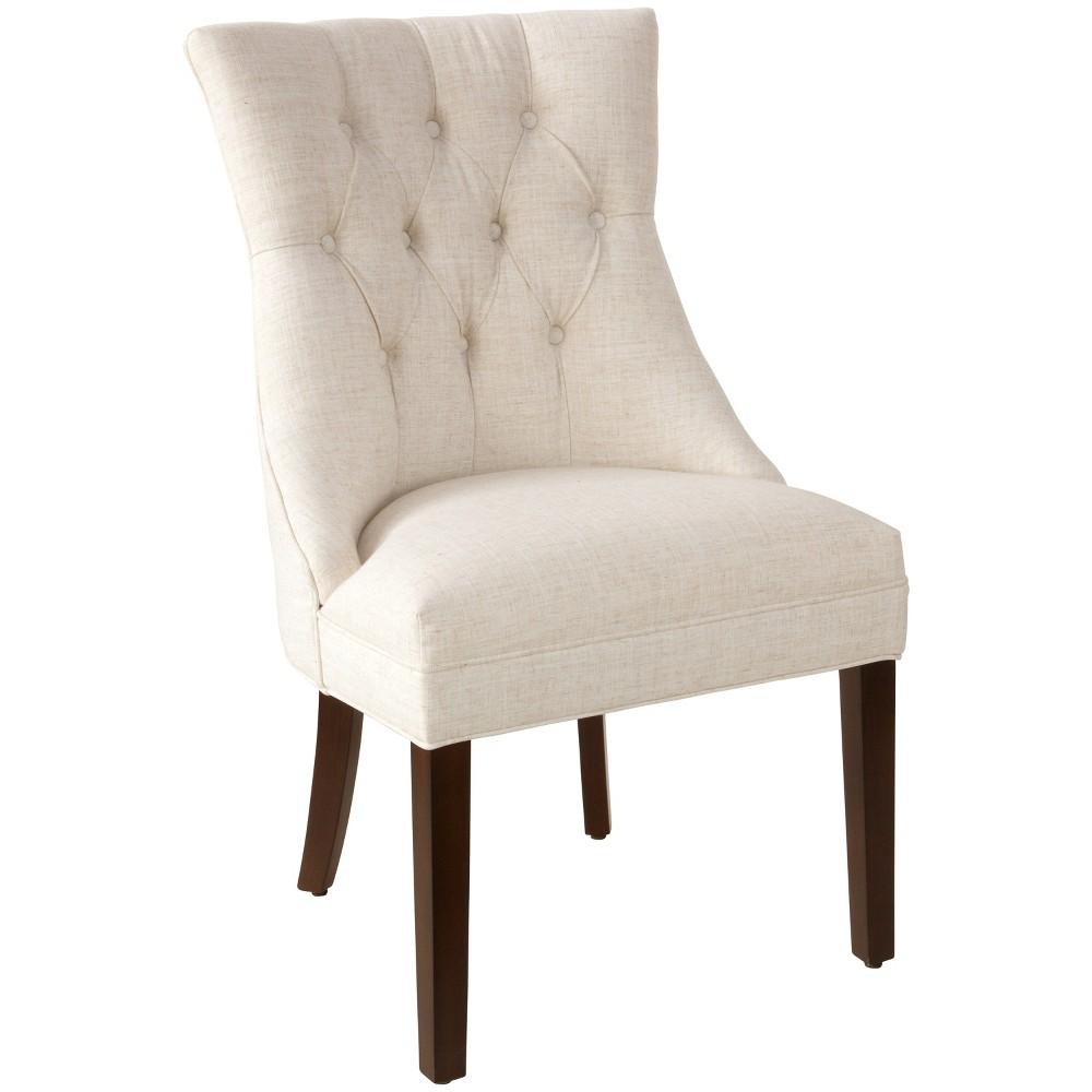 Niki Modern English Arm Chair Talc Linen - Cloth & Co.