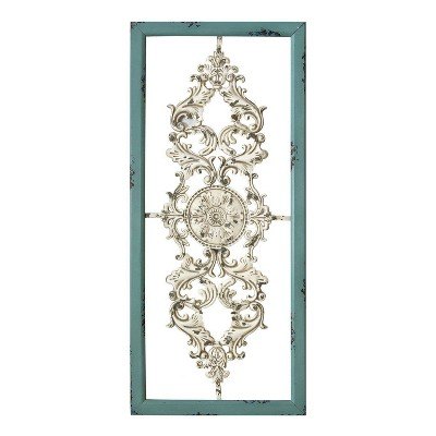 """36"""" x 16"""" Scroll Panel Wall Decor Teal/White - Stratton Home Décor"""