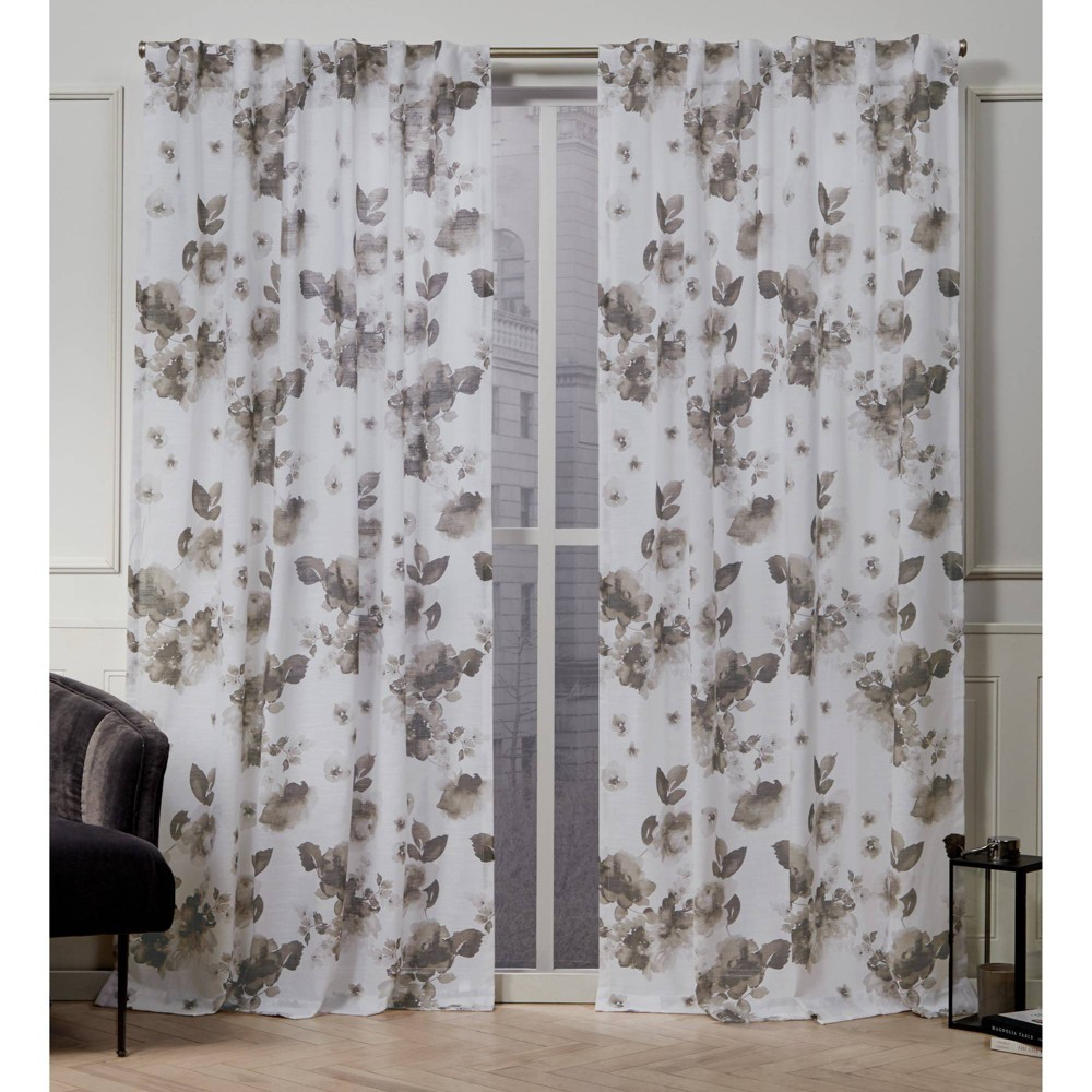 "Image of ""50""""x108"""" Kristy Back Tab Light Filtering Window Curtain Panels Taupe Brown - Nicole Miller, Brown Brown"""