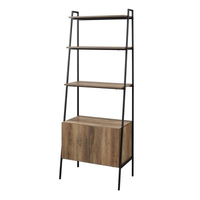 "72"" Marie Open Shelf and Closed Storage Ladder Bookcase - Saracina Home"