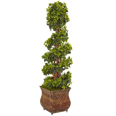4ft English Ivy Spiral Artificial Tree In Metal Planter - Nearly Natural