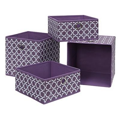 Neu Home Foldable Storage Drawer/Tray 4pc Lilac
