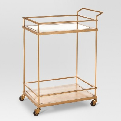 Wood & Glass Gold Finish Bar Cart - Threshold™