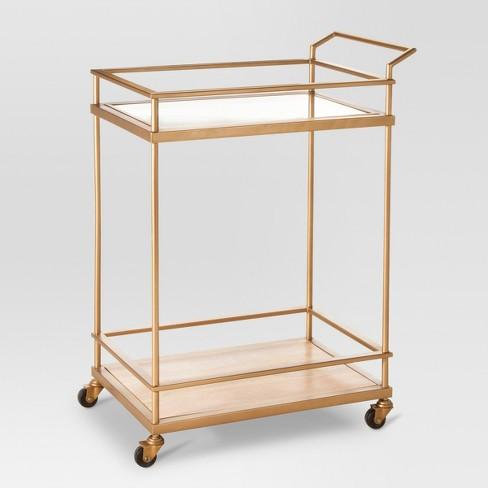 Wood & Glass Gold Finish Bar Cart - Threshold™ - image 1 of 4