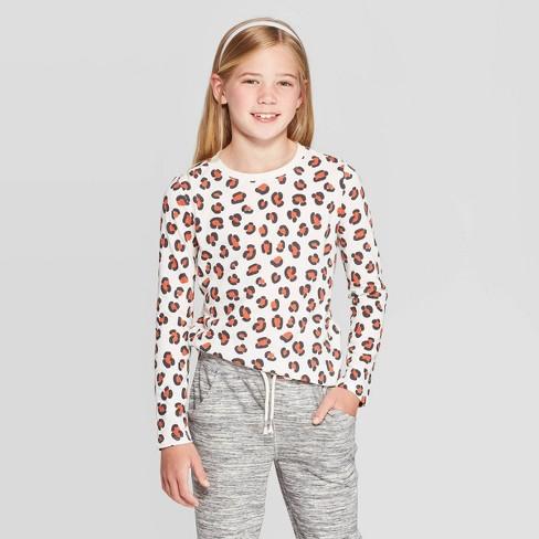 Girls' Animal Print V-Neck Long Sleeve T-Shirt - Cat & Jack™ Cream - image 1 of 3