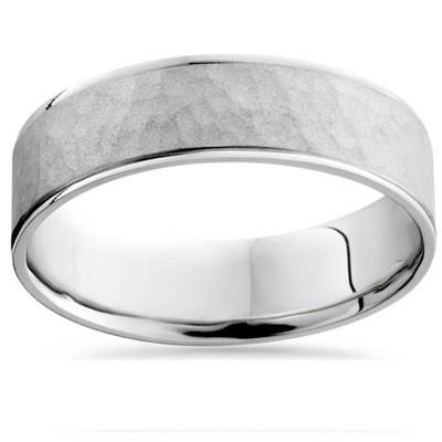 Pompeii3 6mm Mens Argentium Silver Hammered Wedding Band