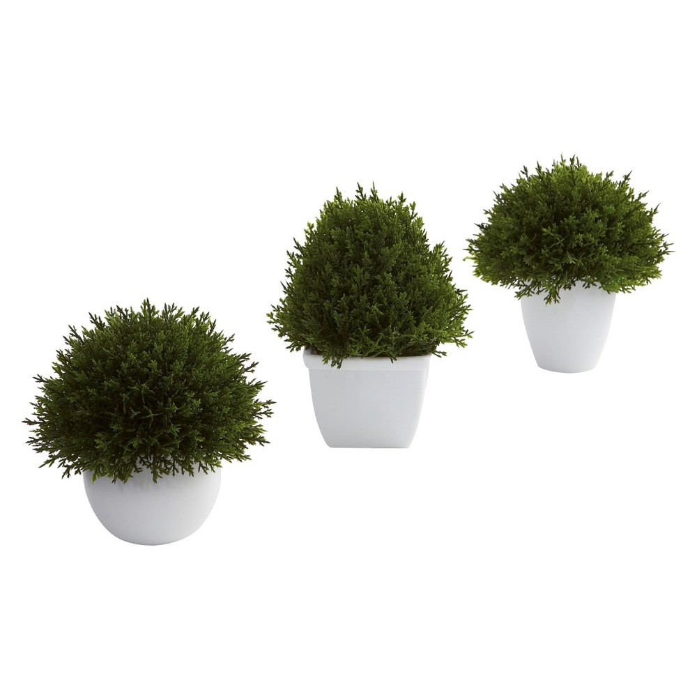 Nearly Natural Mixed Cedar Topiary Collection (Set of 3), Green