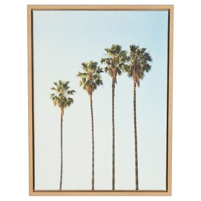 "Palm Trees Framed Canvas Art Natural (24""x18"") - Uniek"