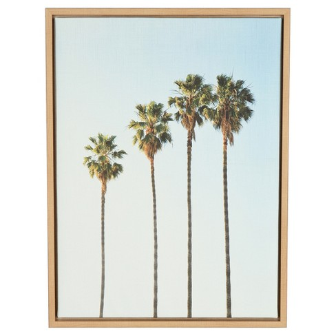 "Palm Trees Framed Canvas Art Natural (24""x18"") - Uniek - image 1 of 3"