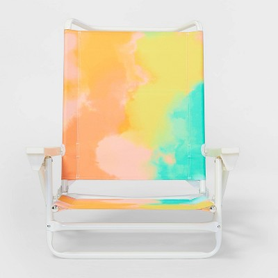 5 Position Steel/Plastic Lay Flat Portable Chair Tie-Dyed - Sun Squad™