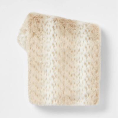 Snow Leopard Long Faux Fur Throw Blanket Neutral - Threshold™