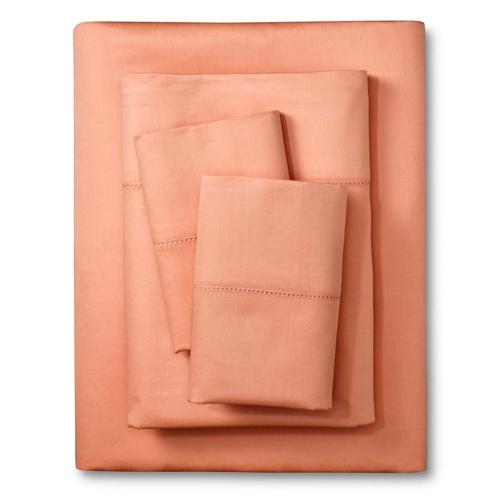 Elite Home Hemstitch 400TC Solid Sheet Set - Coral (Pink) (Twin)