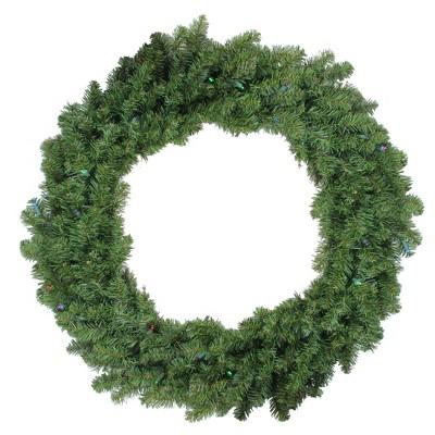 "Darice 36"" Prelit LED Canadian Pine Artificial Christmas Wreath - Multi Lights"