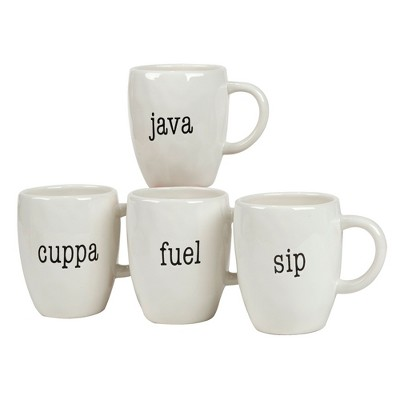 Certified International It's Just Words Ceramic Mugs 20oz White - Set of 4