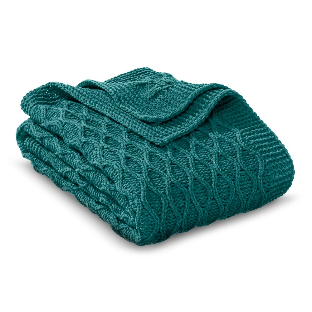 Chenille Wave Throw Blanket Teal (Blue) (50