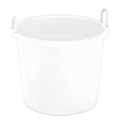 Plastic Storage Bin With Woven Handles   White   Pillowfort™