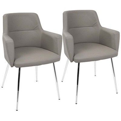 Andrew Contemporary Dining/Accent Chair in Chrome and Gray Faux Leather   - Set of 2 - LumiSource