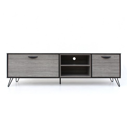 Isadora 71 Mid Century Tv Stand Sonoma Gray Black Christopher