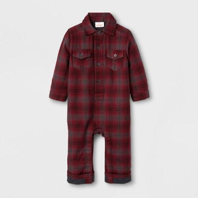 Baby Boys' Flannel Romper - Cat & Jack™ Red Plaid 6-9 M