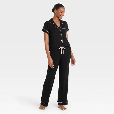 Women's Beautifully Soft Short Sleeve Notch Collar Top and Pants Pajama Set - Stars Above™