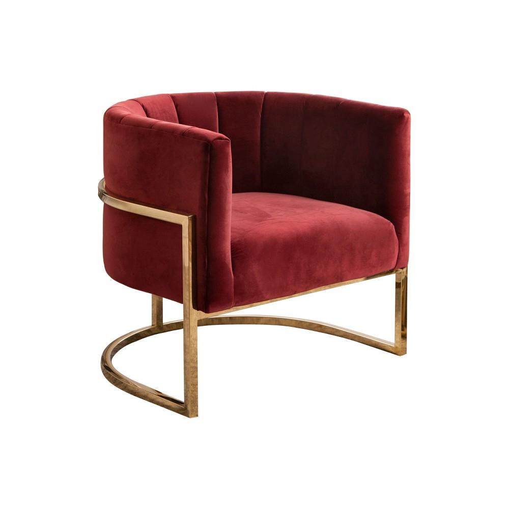 Fendi Channel Tufting Velvet Accent Chair Red - Abbyson Living