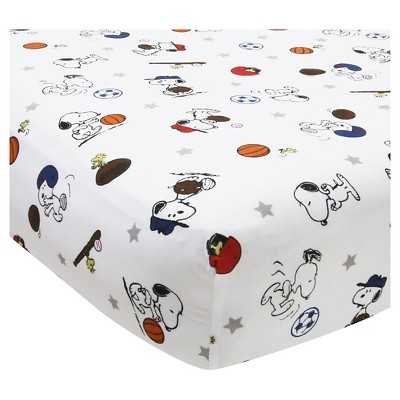 Peanuts Crib Sheet - Snoopy Sports
