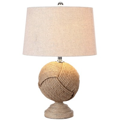 "24"" Monkey's Fist Knotted Rope Table Lamp (Includes LED Light Bulb) Brown - JONATHAN Y"