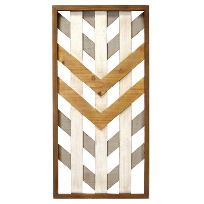 Framed Geometric Wood Wall Pane Gray - Stratton Home Decor