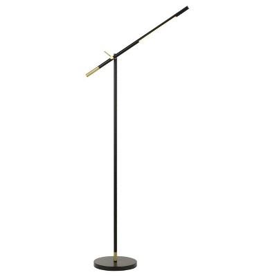 "68"" Adjustable Metal Virton Arm Floor Lamp (Includes LED Light Bulb) Black/Antique Brass - Cal Lighting"