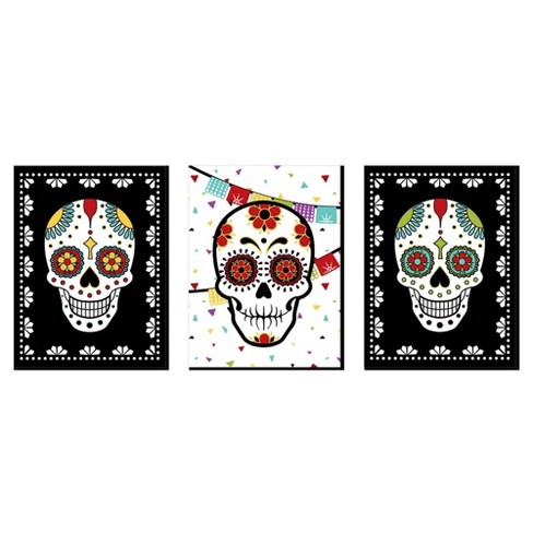 Big Dot Of Happiness Day Of The Dead Sugar Skull Wall Art Kids Room Decor And Themed Room Home Decorations 7 5 X 10 Inches Set Of 3 Prints Target