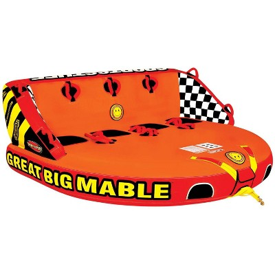 SPORTSSTUFF 53-2218 Great Big Mable 4-Person Towable Boat and Lake Tube Inflatable with Dual Tow Points, Heavy-Duty Full Nylon Cover, & Grab Handles