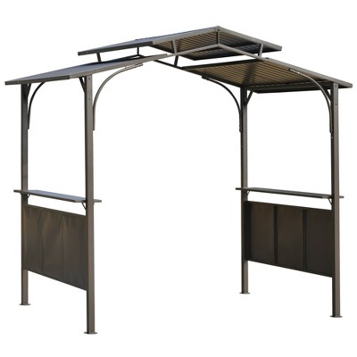 Outsunny 8'x5' BBQ Grill Gazebo with 2 Side Shelves Outdoor Double Tiered Interlaced Polycarbonate Roof with Steel Frame-Brown