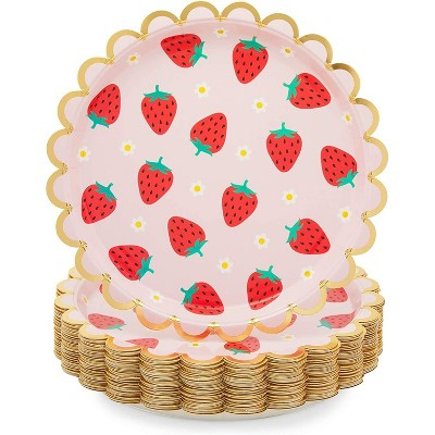 Sparkle and Bash 48 Pack Pink Disposable Paper Plates with Gold Foil for Strawberry Birthday Party 9 In