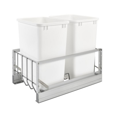 Rev-A-Shelf 5349-18DM-2 Double 35 Quart Kitchen Base Cabinet Pull Out Waste Containers, Silver/White