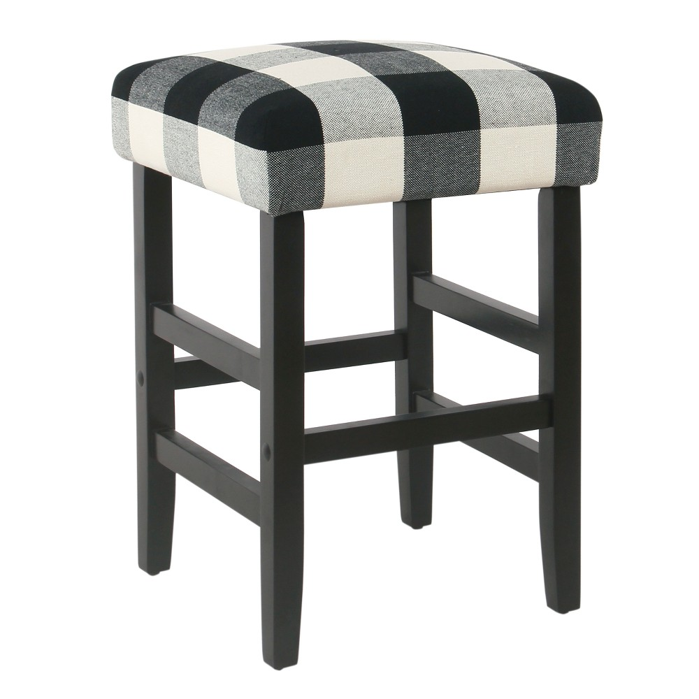 Square Counter Stool Black Plaid - Homepop was $139.99 now $104.99 (25.0% off)