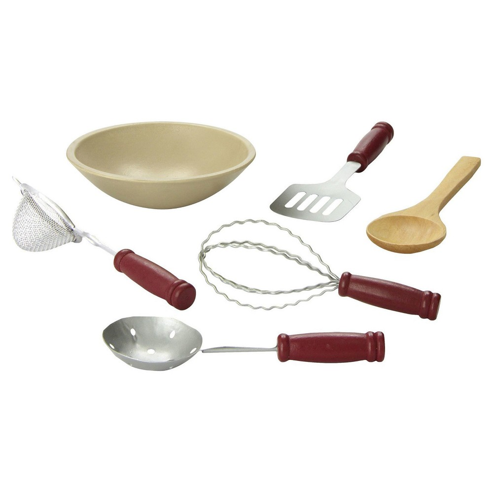 The Queen's Treasures 18 Inch Doll Kitchen Dish Accessories, Wood Bowl & 6 Piece Cooking Utensil Tools
