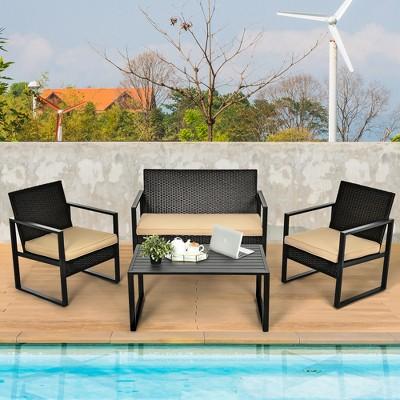 Costway 4PCS Patio Rattan Furniture Set Cushioned Sofa Coffee Table Garden Deck Brown