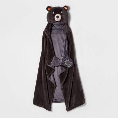 Bear Hooded Bed Blanket Gray - Pillowfort™