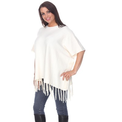 Women's Megara Side Buttoned Fringe Poncho - White Mark