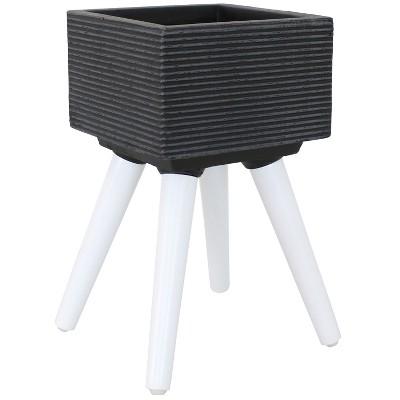"""Barkley Square 10"""" Fiber Clay Planter - Dark Gray/White - Sunnydaze Decor"""