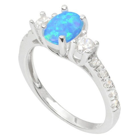 2/5 CT. T.W. Journee Collection Round Cut CZ Simulated Opal Ring in Sterling Silver - Blue (9) - image 1 of 2