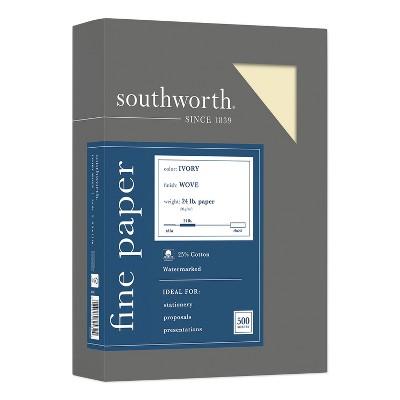 Southworth 25% Cotton Business Paper Ivory 24 lbs. Wove 8-1/2 x 11 500/Box FSC 404IC