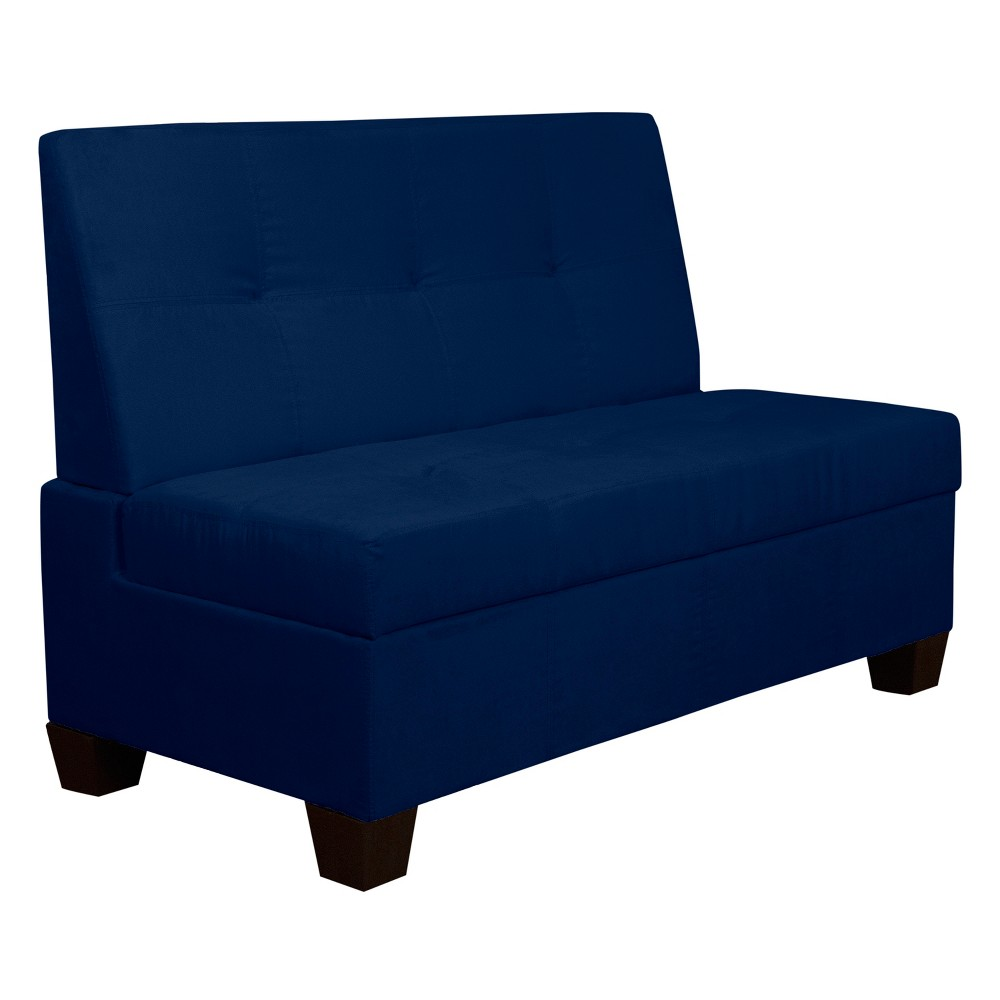 """Image of """"Valet Tufted Padded Hinged Storage Chair - Suede - Epic Furnishings, Size: 48"""""""" Wide, Blue"""""""