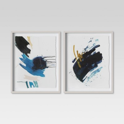 """(Set of 2)16"""" x 20"""" Blue Abstract Framed Print - Project 62™"""