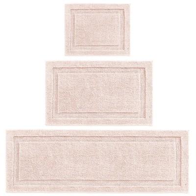 mDesign Microfiber Polyester Bathroom Spa Mat Rugs/Runner, Set of 3 - Blush Pink