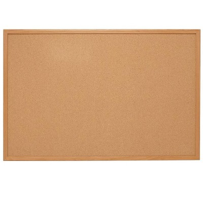 HITOUCH BUSINESS SERVICES Standard Durable Cork Bulletin Board Oak Frame 2'W x 1.5'H 52460/28669