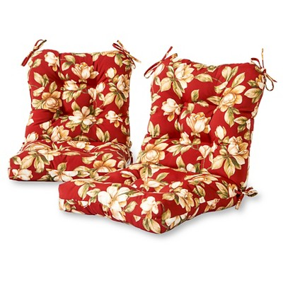 Set of 2 Roma Floral Outdoor Seat/Back Chair Cushions - Kensington Garden