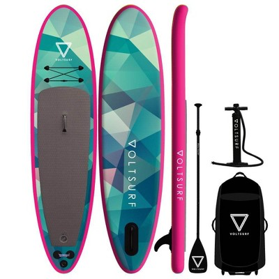 VoltSurf 11 Foot Rover Inflatable SUP Stand Up Paddle Board Kit w/ Pump, Pink