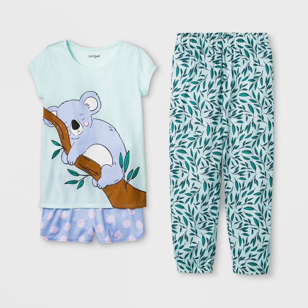 Girls' Koala Print 3pc Pajama Set - Cat & Jack Light Green L